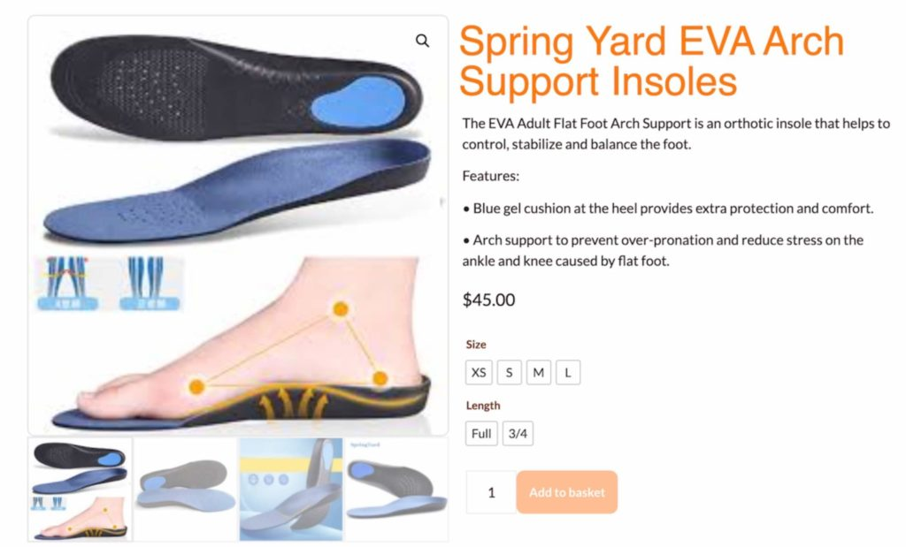Image of Spring Yard shoe insoles available on feetcare.sg